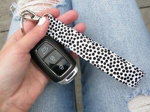 Black Spotty Monochrome Key Fob Keyring Wristlet Swivel Clip Lanyard