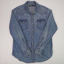 Men's Vintage Polo Ralph Lauren (M) Blue Denim Pearl Snap Western Shirt
