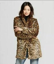 A New Day Faux Fur Leopard Cheetah Print Jacket Coat S Small