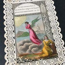 CANIVET Polychrome Daté 1874 Ange Angel Image Pieuse HOLY CARD 19thC Santino