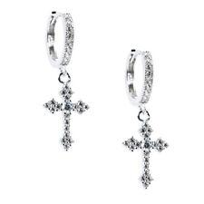 Mini Sterling Silver Cross Dangle Drop Iced Huggie Hanging Hoop Earrings