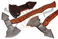 DAMASCUS Steel BLADE FUNCTIONAL TOMAHAWK,AXE, HAND CARVED ROSE WOOD HANDLE.