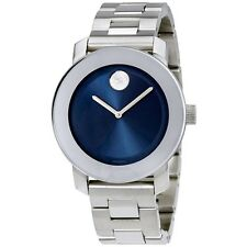 SALE MOVADO BOLD BLUE DIAL STAINLESS STEEL WOMENS WATCH  3600396