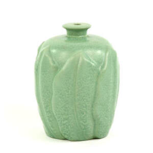 VINTAGE FACTORY GREEN POTTERY LAMP WITH LEAVES