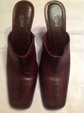 Diba Brown Leather Closed Toe Mules - Size 10M - GUC