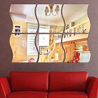 Acrylic Removable 6PCS Wave Home Wall Mirror Sticker Art Vinyl Mural Decor Decal