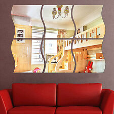 6PCS Home Wall Acrylic Removable Wave Mirror Sticker Art Vinyl Mural Decor Decal