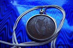 "1937 IRISH Harp, IRELAND Rare COIN Pendant on a 24"" .925 Silver Snake Chain."