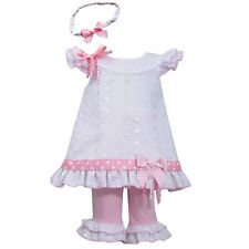 NWT Girls 24m BONNIE JEAN Eyelet Dress Leggings & Headband