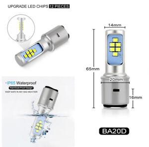 BA20D Motorcycle Car Headlight Bulb Fog Light Hi Lo Lamp 36W Canbus Universal