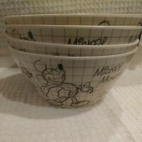 DISNEY  SKETCH BOOK Bamboo Mickey Cereal Salad Bowls Eco-friendly Set of 4 NEW