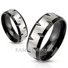 FAMA Stainless Steel Matte Finish & Black IP Faceted Edges Band Ring Size 5-13