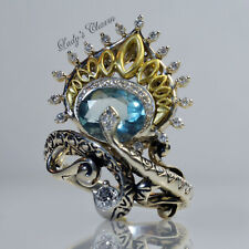 HE Barbara Bixby Diamond Fluorite Peacock Sterling 18K Gold Ring 7