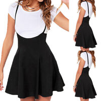Women Mini Suspender Skater Skirt High Waisted Pleated Adjustable Strap Dress