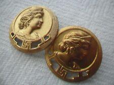 Two Antique Vintage Gilt Metal Buttons