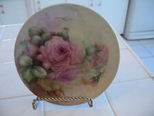 Beautiful Vintage Hand Painted Small Decorative Plate With Pink Roses Limoges