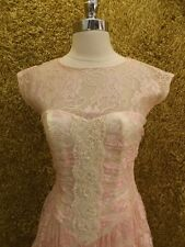 Figure Flattering Vtg Drop Waist Pink Floral Lace Beaded Tiered Party Dress 3/4