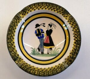 Henriot Quimper French Pottery Ashtray no f114 Smoking Trinket Hand Painted
