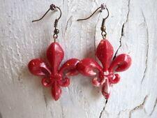 Lys marmor rot - Modeschmuck Ohrringe Ohrhänger bronzefarben Lilie royal