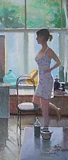 Attractive Zlatan Pilipovic Original Oil Painting Of A Lady - Modern British Art