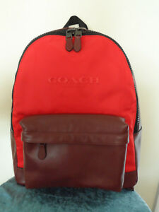 COACH CHARLES MENS BACKPACK IN LEATHER & NYLON BOOK BAG