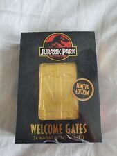 Zavvi Exclusive Jurassic Park 24k Gold Welcome Gates golden ticket Limited Edtn