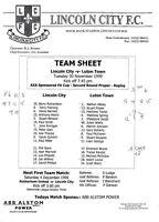 Teamsheet - Lincoln City v Luton Town 1999/2000 FA Cup