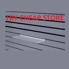 10 x CLEAR SLAT WALL DISPLAY SHELF FOR SHOES JEWELRY 250mm x 100mm WHOLESALE