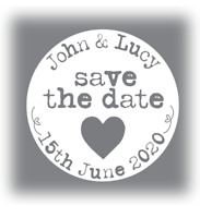 60 x Personalised wedding stickers Save The Date names white grey 35mm favours