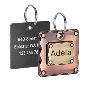 Cute Dog ID Tags for Dogs Personalized Pet Name Address Front and Back Engraving