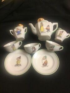 DATED 1937  CHILD'S PARTIAL(10 piece) TEA SET WALT DISNEY ENTERPRISES SNOW WHITE