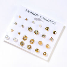 12 Pairs Women's Fashion Pearl Crystal Heart Stud Triangle Earring Set Jewelry F