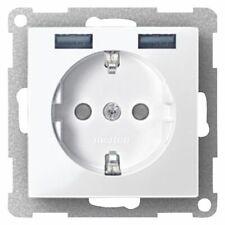 Enchufe Schuko Con USB Sistema Merten M M, Blanco Polar 1 Unidad