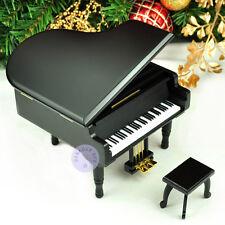 "Play ""Oh, Christmas Tree"" Wooden Piano Music Box With Sankyo Movement (Black)"