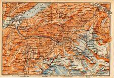 Carta geografica antica SVIZZERA ghiacciaio Grindelwald Berna 1905 Old map