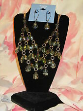 SIMPLY VERA WANG NWT $52 women's necklace earrings gold clear green stones