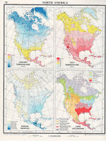 1961 Mapa ~ América Del Norte ~ Temperatura Annua Lluvia Land Utilización