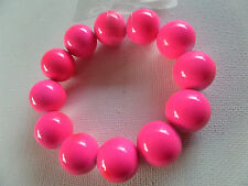 FUNKY CHUNKY HOT PINK NEON DISCO FLUORESCENT UV GLOW BEAD BRACELET new