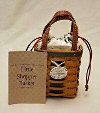 Longaberger 2008 Green Little Shopper Tree Trimming Basket w/ Liner & Protector