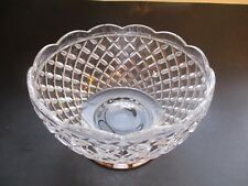 VINTAGE ~ BRILLIANT DIAMOND CUT CRYSTAL BOWL WITH STERLING SILVER FOOTED BASE