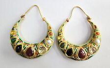 Vintage antique 22K Gold Precious gemstones handmade jewelry hoop earring pair