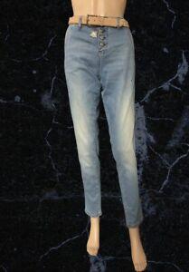 BNWT Cream Medium Blue Calista Jeans With Belt Size 28 ( Uk 8)