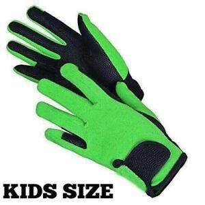 Childrens Horse Riding Gloves Synthetic Leather Cotton Dublin Kids Boys Girs