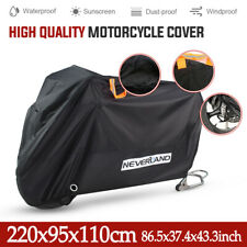 Large Motorcycle Cover Waterproof Heavy Duty For Winter Outside Dust Rain Black