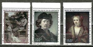 DAHOMEY - 1969 MASTERWORK PAINTINGS SET - 3 Jumbo Stamps #C113-C115 WYSIWYG
