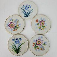 Vintage Hand Painted Porcelain Coasters SET OF 5 w/ Gold Trim Japan 3.75 Inch