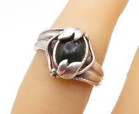 925 Sterling Silver - Vintage Green Topaz Floral Leaf Band Ring Sz 5 - R15184