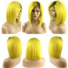 Women 14'' Bob Ombre Yellow Wig Short Straight Synthetic Lace Front Hair Cosplay