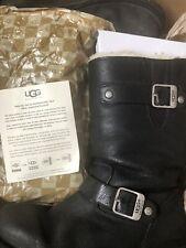 UGG Kensington Black Sheepskin Lined Buckle Biker Boots Soft Leather UK 4/UGG 5
