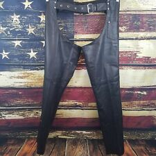 Jamin Unisex Black Leather Zip / Snap Up Lined Motorcycle Riding Chaps Small